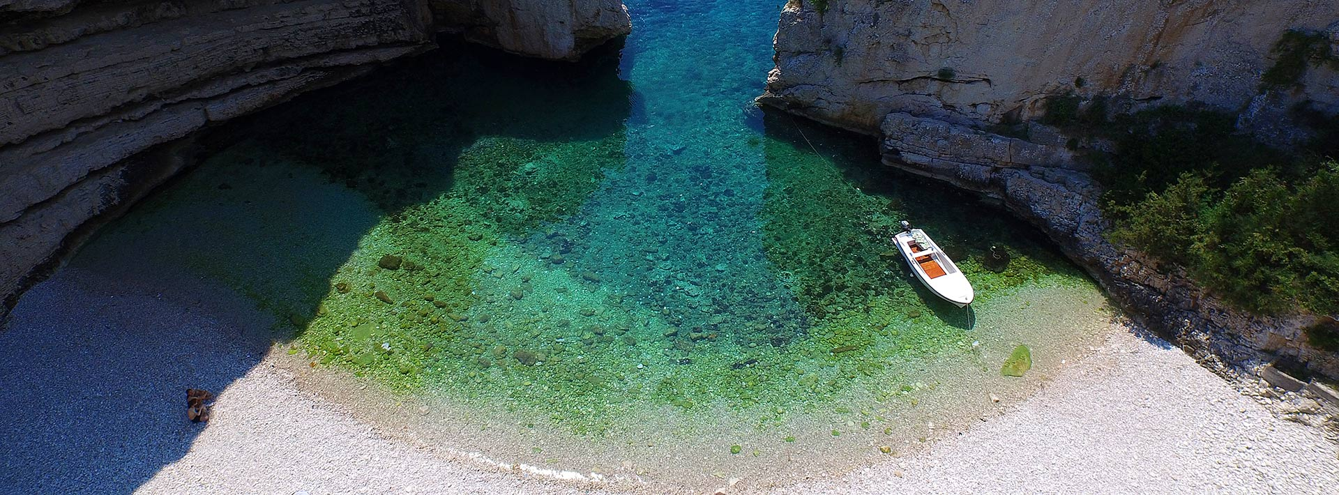 Stiniva Cove, island Vis, aerial view of Stiniva beach