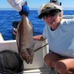 Posing with the catch – Dentex fish