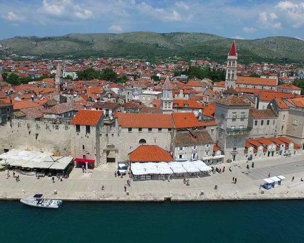Trogir promenade, aerial photo