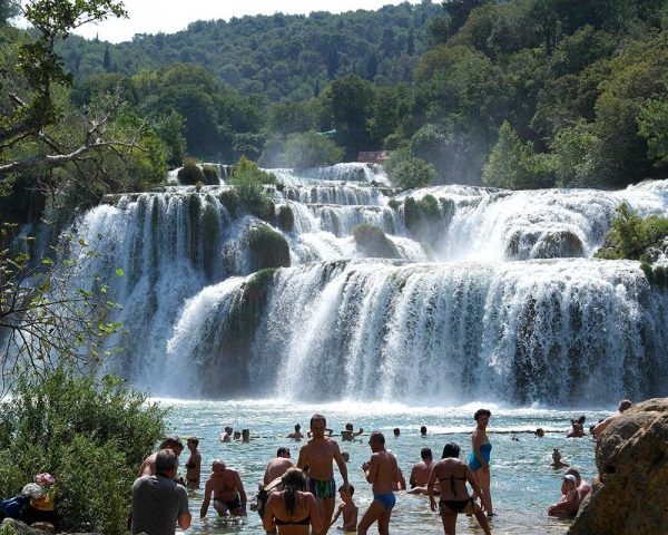 Swimming by the Krka waterfalls