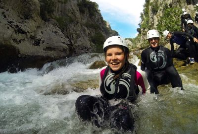 down the stream of Cetina group canoyoning