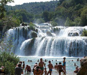 Swimming near main Krka waterfalls