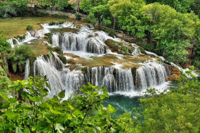 Wooden trail near Krka Cascading waterfalls