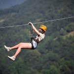 Going down the Zipline, Cetina Canyon