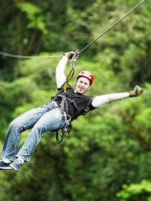 Having fun with the zipline