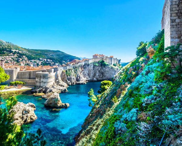 View on Dubrovnik walls and beach