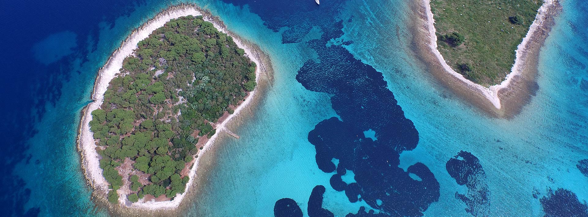 Blue Lagoon Croatia, view on Krknjasi islands from above