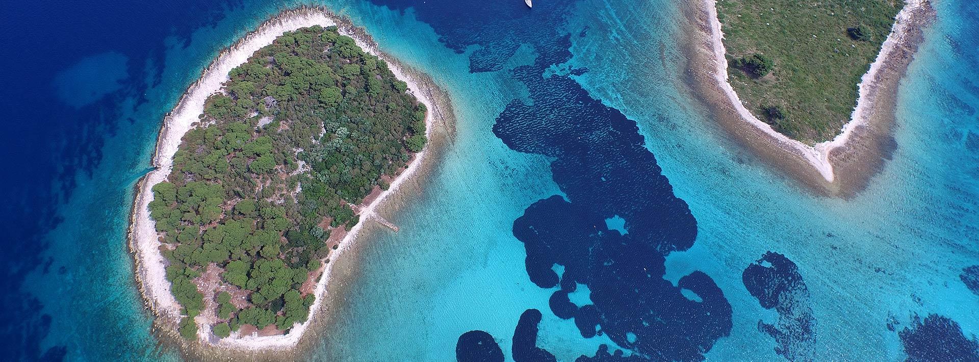 Blue Lagoon Croatia, view on Krknjasi islands from above