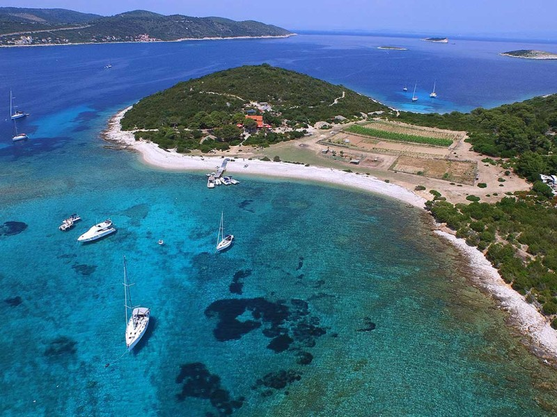 Blue sea at Budikovac island