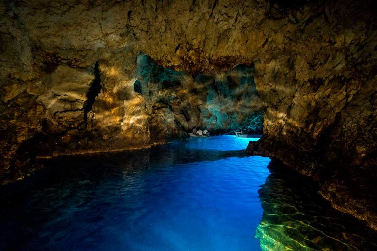 Photo of the Blue Cave with Flashlight