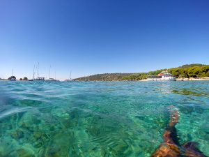 Swimming inside the Blue Lagoon Croatia