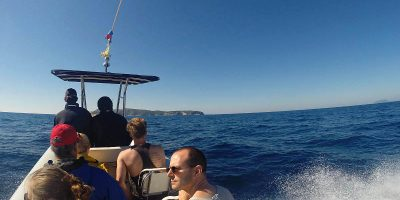Speeding to Bisevo island to visit Blue Cave