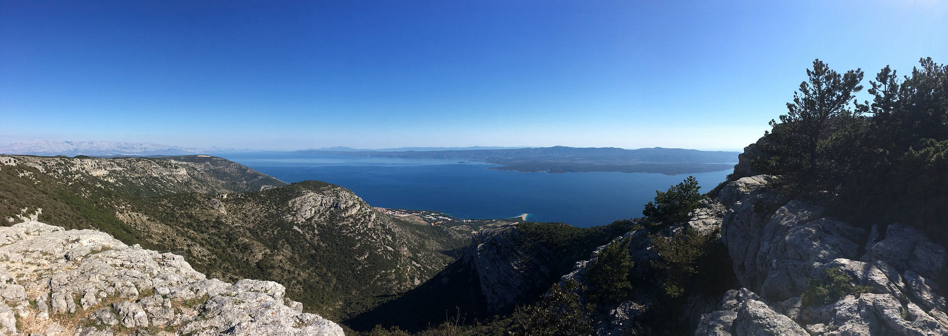 Island of Brac, view from Vidova Gora on Zlatni Rat beach