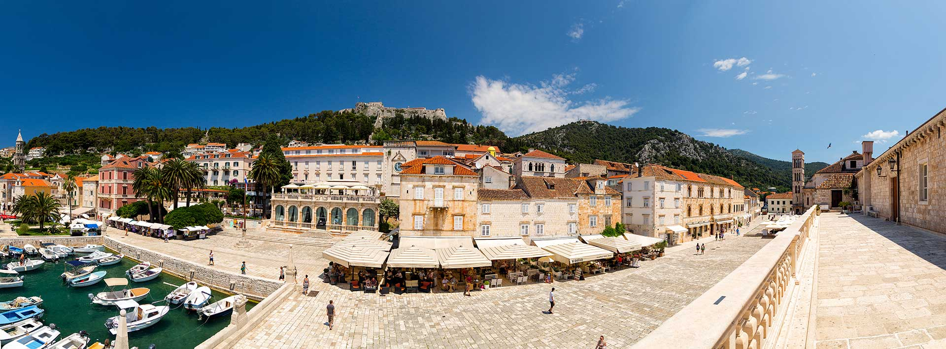 Town Hvar, island Hvar, port, square and cathedral