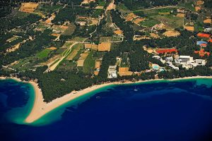 Zlatni Rat beach from air, Bol, island Brac