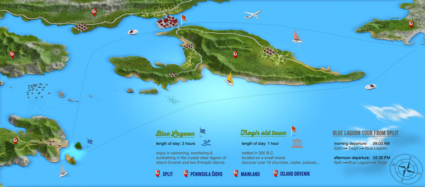 Infographic map of the Blue Lagoon tour from Split
