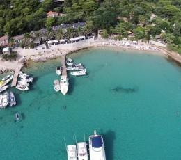 View of Palmizana sandy beach from air