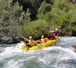 Kids excited to go down the rapids on Cetina river