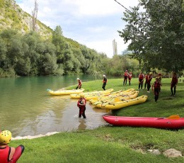 Rafting break in nature at Cetina river beach