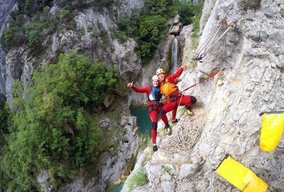 Ready to head down the rop of Cetina canyon top