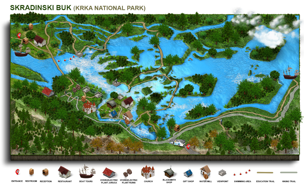 Infographic of Skradinski buk, most beautiful area of Krka National Park
