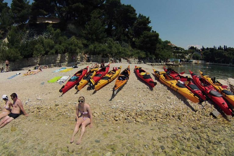 Kastelet beach in Split, point for sea kayaking tour in Split