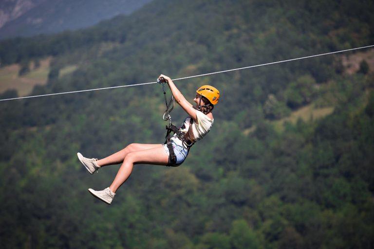 Going down the Zipline, Cetina Canyon