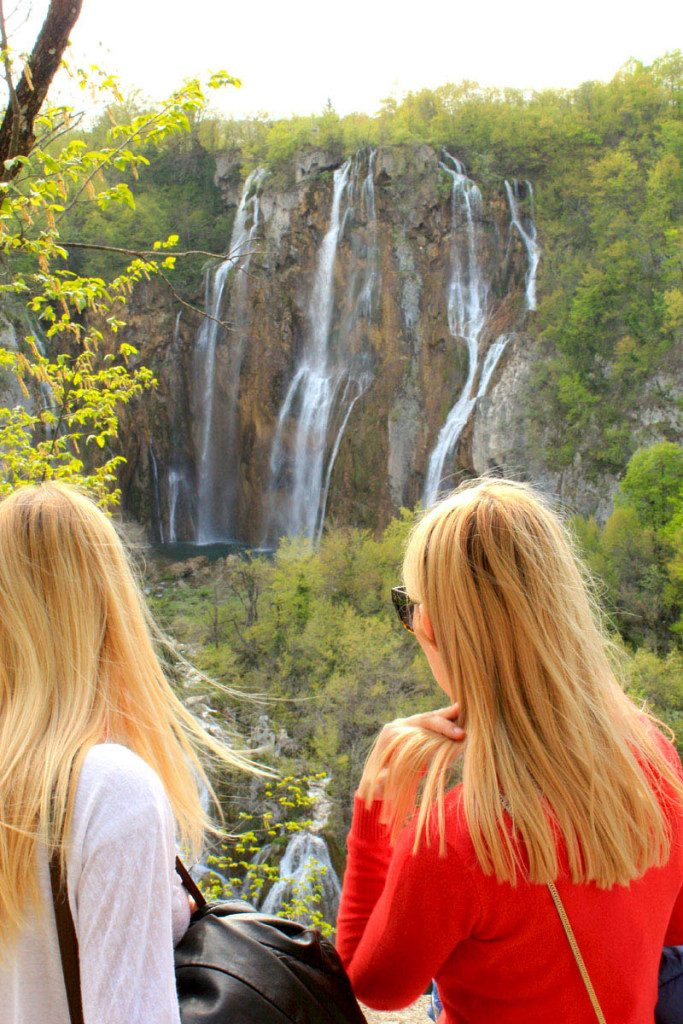 looking at the large waterfall