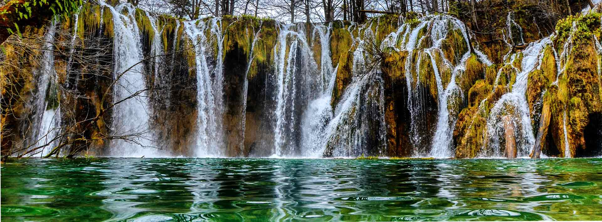Plitvice National Park, lake with the waterfalls, autumn