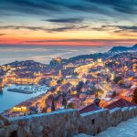 Dubrovnik old town in sunset