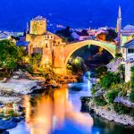 Mostar bridge at and river at night