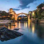 Mostar bridge with lights
