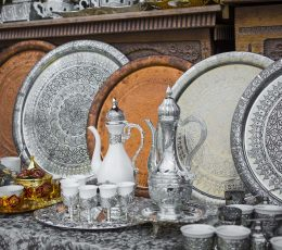 Tea set on open market in Mostar