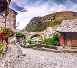 street to Mostar bridge