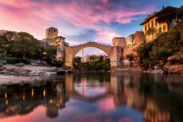 view of Mostar bridge from river